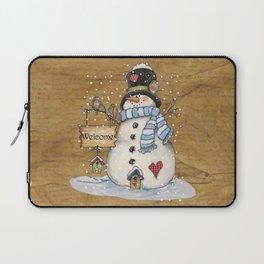Folk Art Snowman Christmas Laptop Sleeve