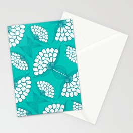 African Floral Motif on Turquoise Stationery Cards