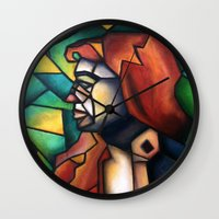 stained glass Wall Clocks featuring Stained Glass  by Alexa Brooke Rutledge
