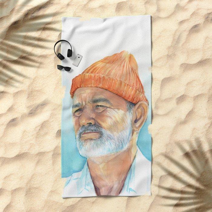 Bill Murray as Steve Zissou Portrait Art Beach Towel