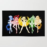 sailor moon Area & Throw Rugs featuring Sailor Scouts / Sailor Moon by Sara Eshak