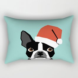 Xmas Boston Terrier Santa Hat funny dog gift for dog lover terrier owner boston terrier cute puppy  Rectangular Pillow
