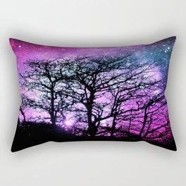 Black Trees Fuchsia Purple Teal Space Rectangular Pillow