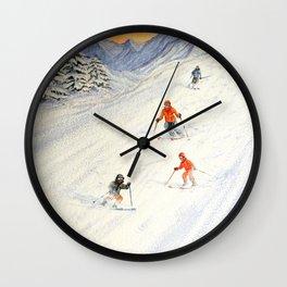 Skiing Family On The Slopes Wall Clock