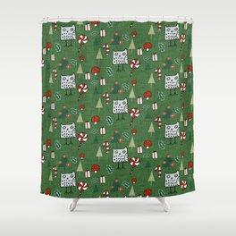 Christmas Owl Green #Christmas #Holiday Shower Curtain