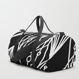 White molecular helix with diagonal circles on a black background. Duffle Bag