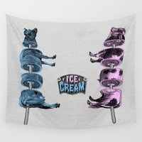 ice cream Wall Tapestries featuring Ice Cream by DIVIDUS