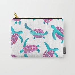 turtle watercolor pink and blue Carry-All Pouch