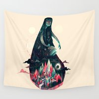 karl Wall Tapestries featuring Night Time. by Karl James Mountford