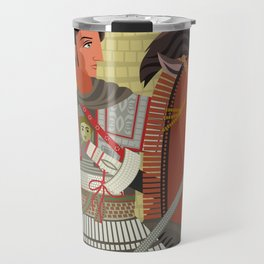 alexander the great mosaic riding a horse Travel Mug