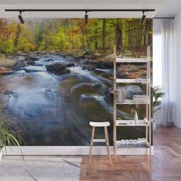 Fall Scenic of a Rocky River, New Jersey Wall Mural