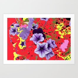 Petunias with Patterned Background Art Print