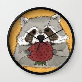 Strawberry Racoon Wall Clock