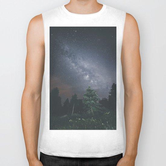 Milky way night sky Biker Tank