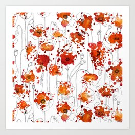 Puppy Ink Splatter Art Print
