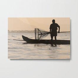 Indian Fisherman on Lake Metal Print