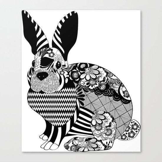 Rabbit floral Canvas Print