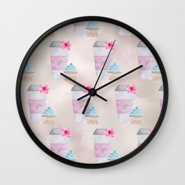 Coffee Neck Gator Travel Coffee To Go Coffee and Cupcakes Coffee Wall Clock