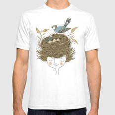 Bird Hair Day SMALL White Mens Fitted Tee