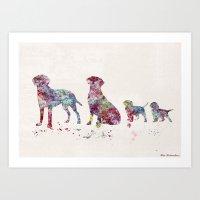 labrador Art Prints featuring Labrador family by Watercolorist