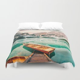 Boats on the lake Duvet Cover