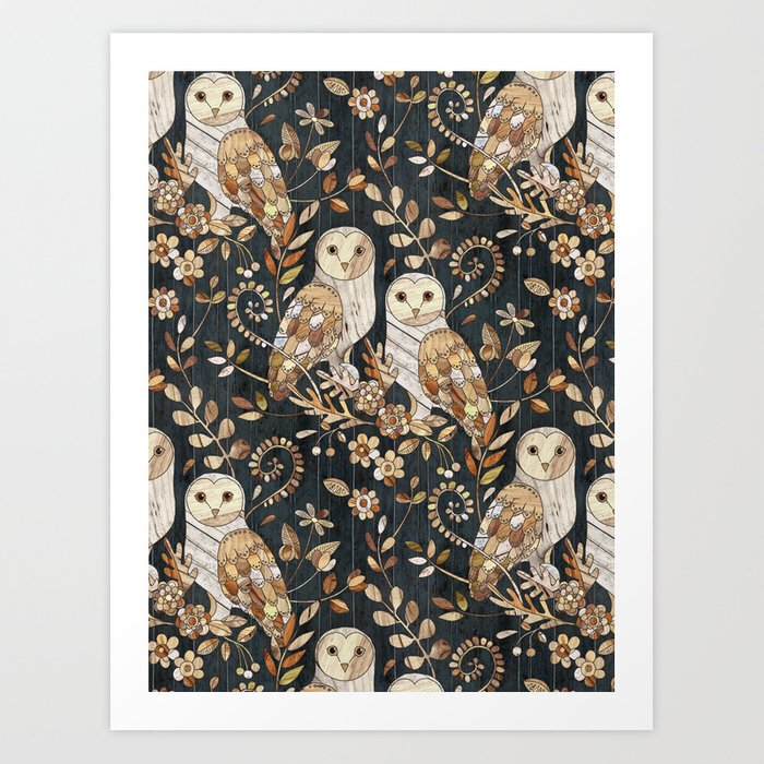 Wooden Wonderland Barn Owl Collage Kunstdrucke