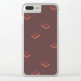 Cassette Pattern- Brown Clear iPhone Case