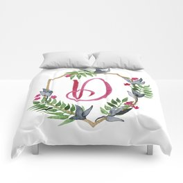 Jungle Gold Monogram Crest D Comforters