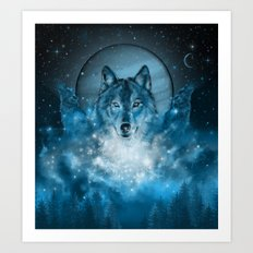 wolf in blue Art Print