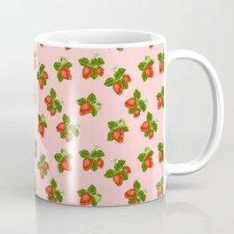 cottage strawberries on pink Coffee Mug