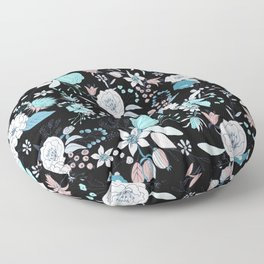 Abstract teal white black country modern floral Floor Pillow