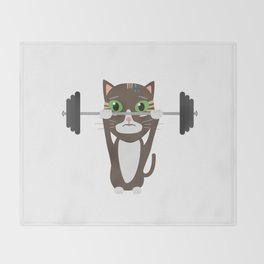 Fitness cat weight lifting   Throw Blanket