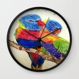 Aboriginal Art - Birds Wall Clock