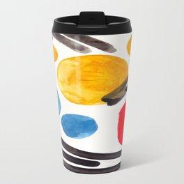 Mid Century Modern Abstract Juvenile childrens Fun Art Primary Colors Watercolor Minimalist Pop Art Travel Mug