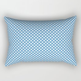 Azure Blue and White Polka Dots Rectangular Pillow