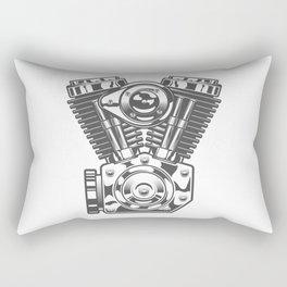 Vintage motorcycle engine in design fashion modern monochrome style illustration Rectangular Pillow