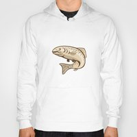 trout Hoodies featuring Rainbow Trout Jumping Cartoon  by patrimonio