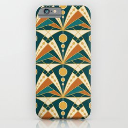 Art Deco (Green, rusty and gold) iPhone Case