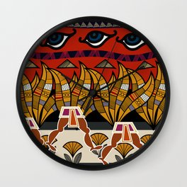 Walking Egyptian Pattern Wall Clock