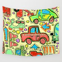 cars Wall Tapestries featuring Toy Cars by PizazzZ People Designs