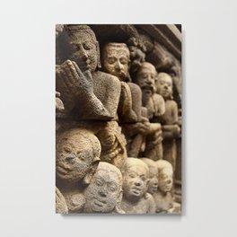 Stone carvings - Borobudur, Jogyakarta Metal Print