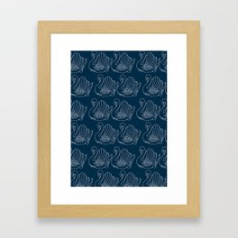 Crown Lynn Swan Pattern on Navy Framed Art Print