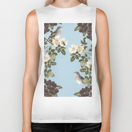Birds and the Bees Blue Biker Tank