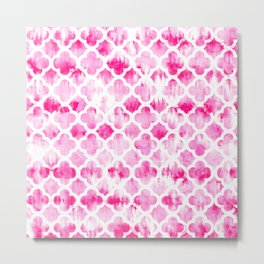 Modern neon pink tie dye watercolor quatrefoil pattern Metal Print