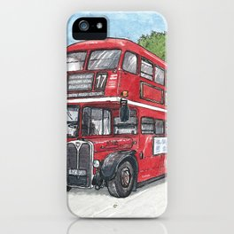 red bus in davis iPhone Case