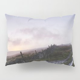 Mountain path and fence at sunset. Derbyshire, UK. Pillow Sham