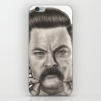ron swanson iPhone & iPod Skins featuring Ron Swanson by Leslie @ PoeDesigns.com