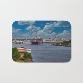 CMA CGM Freighter and Talmadge Memorial Bridge in Savannah Bath Mat