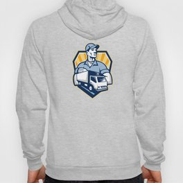 Removal Man Delivery Truck Crest Retro Hoody