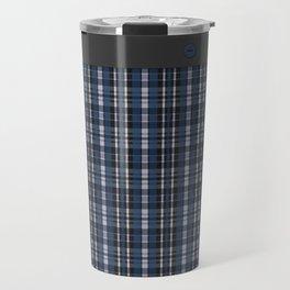 Blue grey plaid pattern Travel Mug